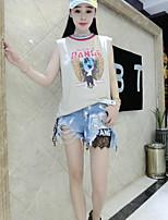 Tee-shirt Femme,Imprimé Lettre Sortie simple Punk & Gothique Sans Manches Epaules Dénudées Coton