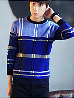 Men's Casual/Daily Simple Regular Pullover,Color Block Round Neck Long Sleeves Polyester Winter Medium Micro-elastic