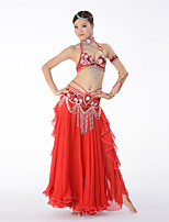 Belly Dance Outfits Women's Performance Cotton Polyester Chiffon Pleated Crystals/Rhinestones Tassel(s) Paillette Dropped Skirts Bra Belt
