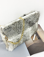 Women Bags All Seasons Suede Clutch Feathers / Fur for Casual Formal Blushing Pink Gray Rainbow Khaki