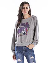 T-shirt Da donna Per uscire Casual Autunno Inverno,Alfabetico Rotonda Cotone Manica lunga Sottile