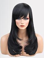 женщины человеческие волосы capless парики средний каштановый мед блондин черный длинный натуральный волна сторона часть