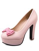 Mujer Zapatos Semicuero Primavera Otoño Confort Tacones Tacón Robusto Dedo redondo Pajarita Para Vestido Negro Beige Rosa