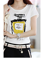 T-shirt Da donna Per uscire Semplice Tinta unita Con stampe Rotonda Cotone Manica corta
