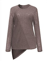 Women's Daily Plus Size All Seasons T-shirt,Solid Round Neck Long Sleeves Cotton Medium