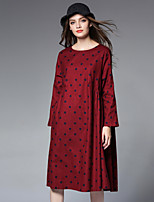 JIANRUYI Women's Holiday Casual/Daily Boho Loose Dress,Polka Dot Round Neck Midi Long Sleeves Cotton Fall High Rise Inelastic Medium