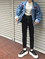 Women's Casual/Daily Street chic Fall Denim Jacket,Print Shirt Collar Long Sleeve Regular Cotton