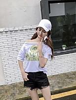 Tee-shirt Femme,Imprimé Décontracté / Quotidien simple Actif Manches Courtes Bateau Coton