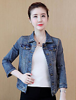 Women's Casual/Daily Simple Fall Denim Jacket,Print Shirt Collar Long Sleeve Regular Cotton