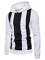 Men's Plus Size Sports Casual/Daily Simple Active Street chic Punk & Gothic Hoodie Solid Striped Color Block Stripe Patchwork Hooded