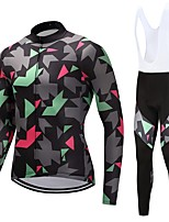 Cycling Jersey with Bib Tights Unisex Long Sleeves Bike Clothing Suits Quick Dry Stripe Autumn/Fall Spring Cycling/Bike White Black