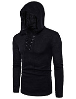 Men's Daily Work Casual Regular Pullover,Solid Hooded Long Sleeves Cotton Acrylic Winter Fall/Autumn Thick Micro-elastic
