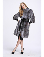 Women's Daily Sophisticated Winter Fall Fur Coat,Color Block Stand Long Fox Fur