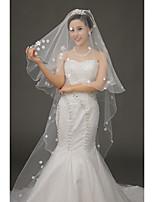 Uma Camada Véus de Noiva Véu Capela Com Apliques Tule
