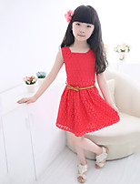 Girl's Birthday Daily Solid Dress,Cotton Polyester Summer Sleeveless Lace White Red Purple