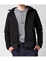 Men's Daily Going out Street chic Hoodie Solid Hooded Micro-elastic Cotton Long Sleeve Winter Fall