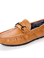 Men's Shoes Cowhide Fall Winter Fluff Lining Comfort Loafers & Slip-Ons Studded For Casual Party & Evening Blue Brown Black