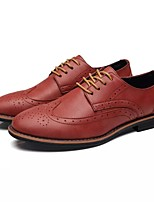 Men's Shoes PU Fall Winter Comfort Oxfords Lace-up For Casual Office & Career Khaki Red Gray