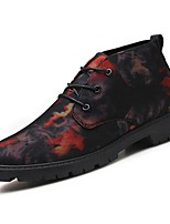 Men's Shoes PU Spring Fall Combat Boots Boots Lace-up For Casual Blue Red