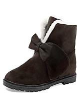 Femme Chaussures Tissu Automne Hiver Confort Bottes Talon Plat Bottine/Demi Botte Noeud Pour Décontracté Noir Fuchsia Brun Foncé