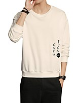 Men's Daily Plus Size Casual Sweatshirt Letter Round Neck Micro-elastic Cotton Polyester Long Sleeve Winter Fall