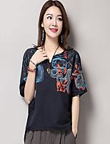 T-shirt Da donna Casual Stoffe orientali Con stampe A V Cotone Mezza manica