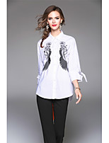 Women's Going out Vintage Winter Spring Shirt,Embroidery Shirt Collar 3/4 Length Sleeves Cotton