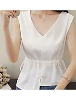 Tee-shirt Femme,Couleur Pleine Décontracté / Quotidien simple Printemps Sans Manches Col en V Coton Fin
