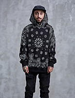 Men's Daily Casual Hoodie Solid Print Hooded Micro-elastic Cotton Long Sleeve Fall