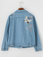 Women's Daily Vintage Winter Fall Denim Jacket,Animal Print Shirt Collar Long Sleeve Regular Polyester Embroidered