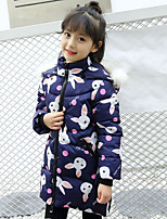 Girls' Solid Floral Cartoon Down & Cotton Padded,Polyester Fall Winter Long Sleeve