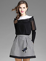 EWUS Women's Daily Going out Street chic Fall Blouse Skirt Suits,Solid Houndstooth Round Neck Long Sleeve Cotton Polyester Inelastic
