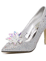 Women's Shoes Real Leather Spring Fall Comfort Heels Stiletto Heel Pointed Toe For Casual Silver