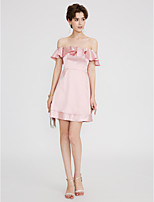 A-Line Strapless Short / Mini Satin Cocktail Party Dress with Ruffles Pleats by TS Couture®