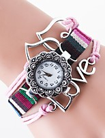 Women's Unique Creative Watch Chinese Quartz Nylon Band Black White Brown Rose