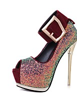 Women's Shoes Paillette Spring Fall Novelty Heels Stiletto Heel Peep Toe Sequin Rivet For Party & Evening Dress Blue Red Light Purple