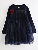 Girl's Floral Dress,Cotton Fall Long Sleeve Lace Navy Blue
