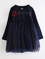 Девичий Платье Хлопок Цветочный принт Осень Длинный рукав