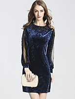 Women's Party Club Casual Sexy A Line Dress,Solid Round Neck Above Knee Long Sleeves Spandex Fall Mid Rise Micro-elastic Medium