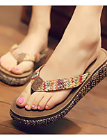 Women's Shoes Linen Summer Comfort Slippers & Flip-Flops For Casual Brown Dark Blue Beige
