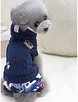 Dog Jumpsuit Dog Clothes Casual/Daily Geometic Dark Blue Green Costume For Pets