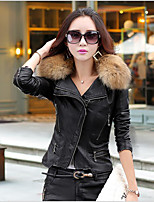 Women's Sports Going out Leisure Korean Fall Winter Leather Jacket,Solid Shawl Lapel Long Sleeve Regular PU