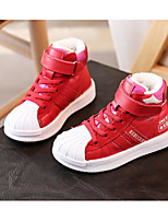 Girls' Shoes Cowhide Fall Winter Comfort Sneakers For Casual Red Black