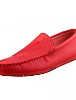 Hombre Zapatos Goma Otoño Mocasín Zapatos de taco bajo y Slip-On Para Blanco Negro Rojo