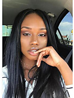 Women Human Hair Lace Wig Mongolian Human Hair 360 Frontal 180% Density With Baby Hair Straight Wig Black Medium Length
