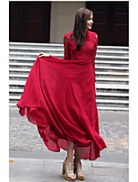 SHE IN SUN Women's Party Casual/Daily Swing Dress,Solid Stand Maxi Long Sleeves Polyester All Seasons Fall Mid Rise Inelastic Medium