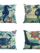 Set Of 4 Crab Hippocampus Printing Pillow Case Sofa Cushion Cover  45*45Cm