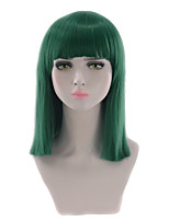 Women Synthetic Wig Capless Short Medium Length Straight Black Green Blue White Purple Bob Haircut With Bangs Party Wig Halloween Wig