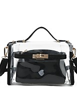 Women Bags PVC Shoulder Bag 2 Pieces Purse Set Pockets for Shopping Casual All Seasons Black Red