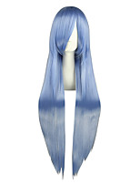 Women Synthetic Wig Capless Very Long Kinky Straight Blue Anime Cosplay Wig Costume Wig